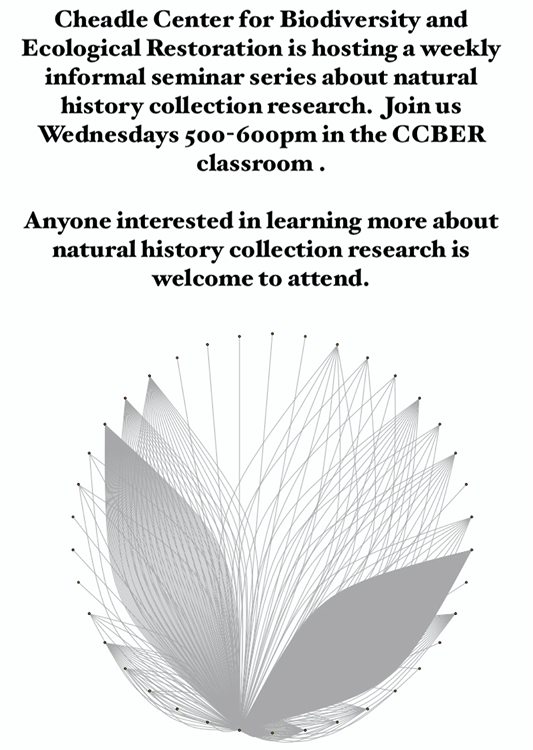 The Cheadle Center for Biodiversity and Ecological Restoration is hosting a weekly informal seminar series about natural history collection research, every Wednesday 5:00-6:00 PM in the CCBER classroom. Anyone interested is welcome to attend. Below is the schedule of events, with additional information about guest speakers further down.